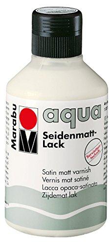 Marabu 11370013000 - Farbloser aqua Seidenmattlack, transparent 250 ml Flasche, seidenmatter Acryl - Lack auf Wasserbasis, für Hobby und Freizeit, zum Lackieren vieler Bastelarbeiten und Materialien