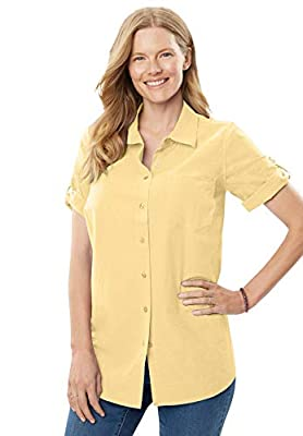 Woman Within Plus Size Short Sleeve Button Down Seersucker Shirt