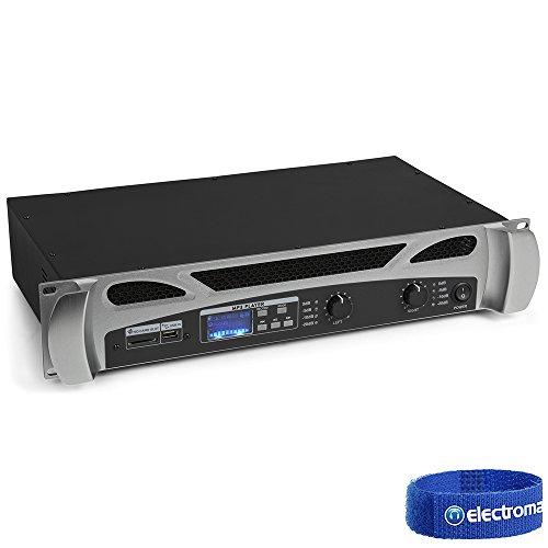 Fenton FPA600 Amplificatore PA - 2 x 300 W , Bluetooth , Lettore Multimediale , Display a LED , Porta USB , Slot SD , Costruzione Robusta con Corpo in Metallo , Ingresso di Linea , incl Telecomando