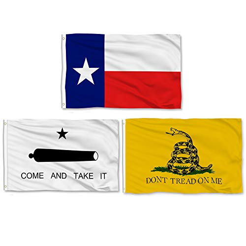 Aisto 3 Pieces 3x5 Feet Texas State Flag - Come and Take It Flag- Gadsden Don't Trad On Me Flag - Made by 100% Polyester – Vivid Color and UV Fade Resident