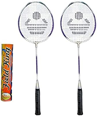 CB-89 Badminton Racket Pair with Field King Badminton Shuttle Cock (Pack of 10)- Badminton Kit