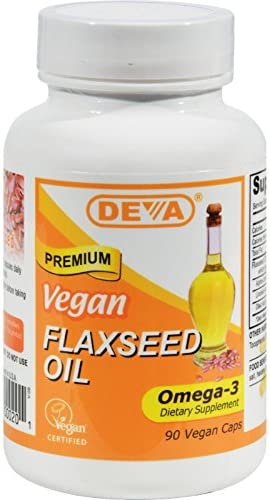 Deva Vegan Flaxseed Oil Omega 3 Gluten Free 90 Vcaps Pack of 2 product image