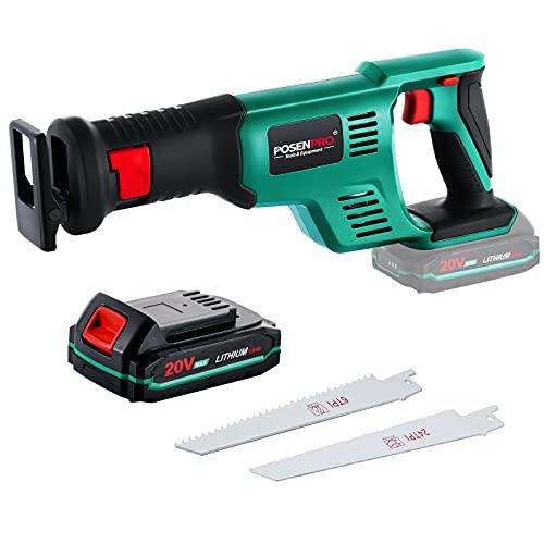 POSENPRO Cordless Reciprocating Saw, 20V Reciprocating Saws wtih 2000mAh Li-ion Batteries & Fast Charger & 2 Saw Blades, Cordless Sawzall for Wood & Metal Cutting - PCRS11GU - 1