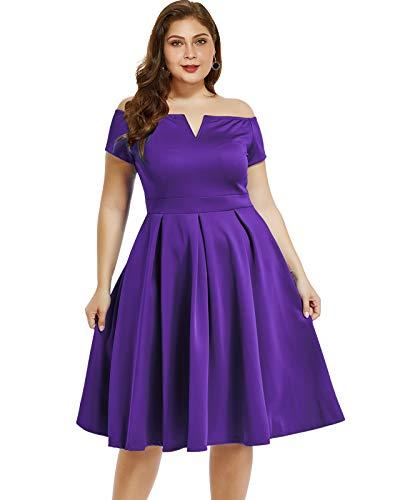 LALAGEN Women's Vintage 1950s Party Cocktail Wedding Swing Midi Dress Purple XXXL