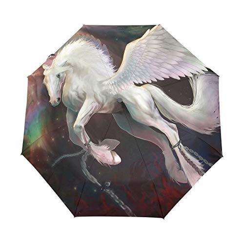 Kleiner Reiseschirm Winddicht im Freien Regen Sonne UV Auto Compact 3-Fach Regenschirm Abdeckung - Fliegendes Einhorn Pegasus Mythologische Kreatur