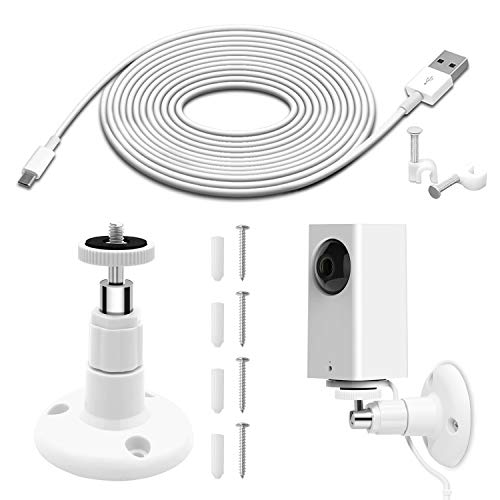 Wall Mount for Wyze Cam Pan Security Camera with 26FT Charging Cable, Wyze Cam Pan Mounting Kit Including Charging and Data Sync Cord, 360 Degree Adjustable Ceiling Mount, and 30 Wire Clips