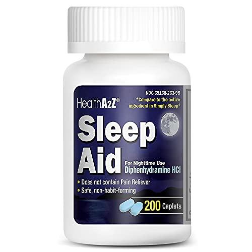 HealthA2Z Sleep Aid, Diphenhydramine HCl 25mg, 200 Caplets