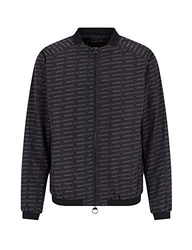 Armani Exchange A|X Herren Oblique Print Zip Up Bomber Jacket Übergangsjacke, Schwarzes schräges Logo, XX-Large
