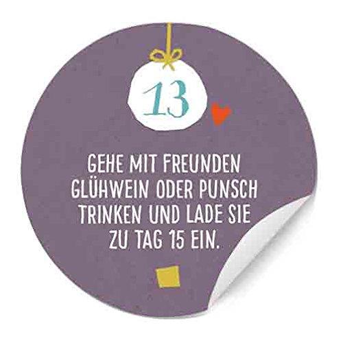 48 Sticker: 24 Adventskalenderzahlen mit witzigen Aufgaben + 24 Weihnachtsdeko Aufkleber - runde Etiketten MATT zum Adventskalender basteln & befüllen, selbstklebend, 40 mm, Lila