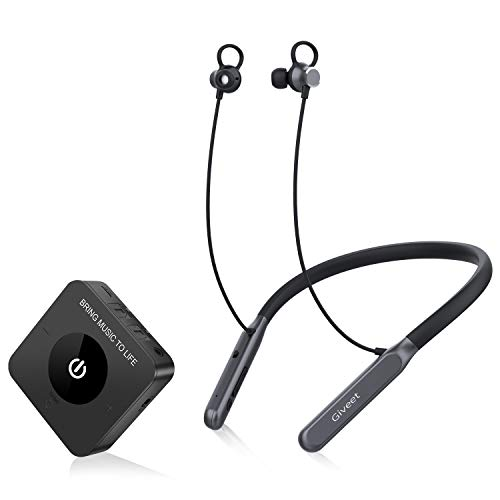 Giveet Wireless Headphones Earbuds for TV Watching, Bluetooth HiFi Headset Hearing Set w/Transmitter for Digital Optical RCA AUX Home Stereo PC DVD, Plug n Play, No Audio Delay, Dual Stream at Once