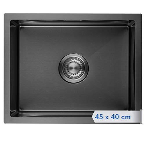LOMAZOO Spüle Schwarz | Spülbecken Edelstahl | Schwarze Küchenspüle Einbauspüle | Waschbecken Küche | 40 x 45 cm