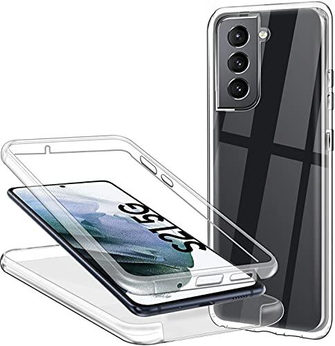 Hülle für Samsung Galaxy S21 5G/4G Handyhülle 360 Grad, Transparent Full Schutz Kratzfest Dünn Durchsichtige Hülle Silikon Schutzhülle, Hart PC Zurück + Weich TPU Vorderseite