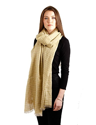Lightweight Irish Scarf Yellow Striped Celtic Linen Blanket Scarf 20 1/2 Inches x 98 1/2 Inches Made in Ireland