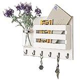 MyGift Wall-Mounted Vintage White Wooden Mail Holder Organizer with 6 Key Hooks & Mason Jar