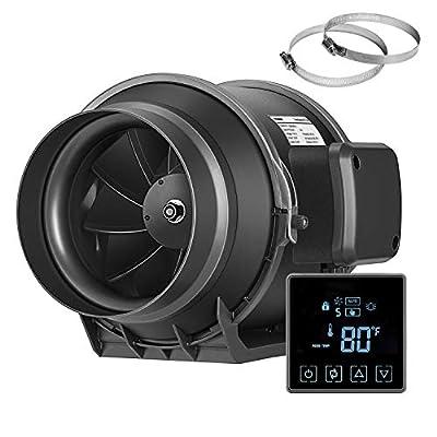 VIVOSUN Inline Duct Fan with Temperature Controller Ventilation Exhaust Fan for Grow Tent