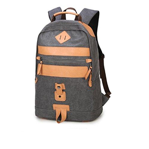 Léger randonnée sac à dos loisir Canvas voyage marche shopping sac à dos multifonctionnel combinaison de matériel en cuir pack sacs à bandoulière portatifs , gray