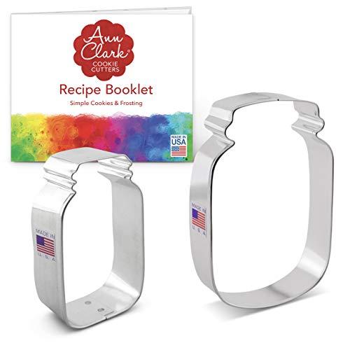 Ann Clark Cookie Cutters 2-Piece Mason Jar Cookie Cutter Set with Recipe Booklet, 3.25' & 4.5'
