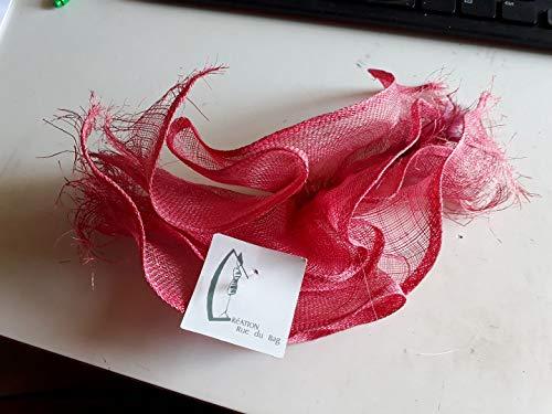 rdb - Pinzas bucarest sisal coral y plumas burdeos para tocado de boda