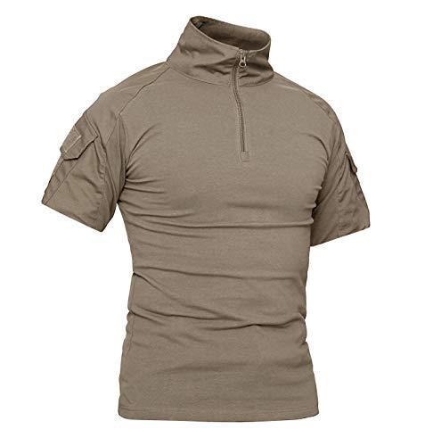 KEFITEVD Military Shirt Männer Army Oberteil Combat Hemd Baumwolle Sommer Shirt Wandern Fitness Kurzarm T-Shirt Elastisch Slim Fit Khaki XL