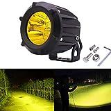 フォグランプ 25w LED作業灯 サーチライト 小型 投光器 ワークライト 広角狭角一体型 補助ライト CREE製チップ スポットライト 角度調整可能 バイク汎用ランプ 防水耐震 1年間の保証 イエロー