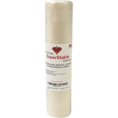 Wash-Away Water Soluble Stabilizer 9 inch x 25 Yard Roll. SuperStable Embroidery Stabilizer & Topping