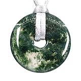Gemme naturali a forma di ciambella della pace, 30 m, perline intrecciate in macramè, ciondolo unisex e materiale non metallico, colore: Agata muschio, cod. G30M-BQY-PAK27