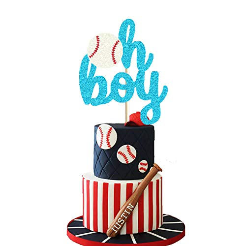 Baseball Oh Boy Cake Topper Concessions Baby Shower Cake Decor Sport Themed Gender Reveal/It's a Prince/It's a Boy Party Cake Supplies Decorations