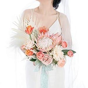 Ling's moment 15″ Protea Wedding Bouquet for Bride Artificial Flowers Protea Bouquet Bridal Bouquet Flower Bouquet for Wedding Ceremony Bridal Flatlay Photography