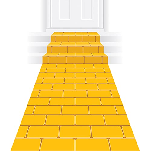 Beistle Yellow Brick Road Novelty Aisle Floor Runner Princess Decorations Party Supplies, 24″ x 10′