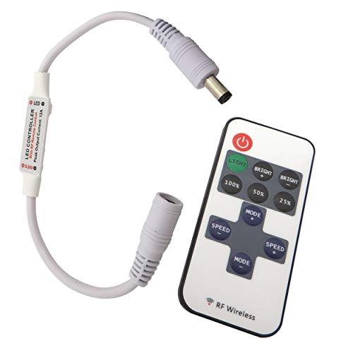 LED Funk Dimmer/Schalter 12V DC Gleichspannung mit Fernbedienung für alle dimmbaren LED Lampen mit Stecker und Buchse (mit Hohlsteckern)