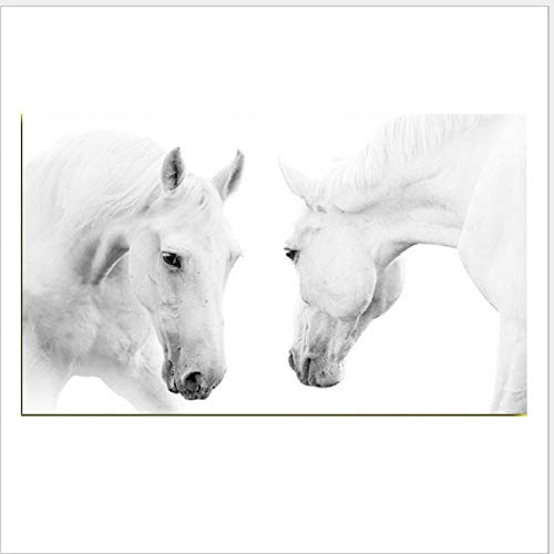 Pintura Decorativa Moderna Caballo Blanco Animal Pintura En Lienzo Cuadros del Arte para La Sala De Estar Dormitorio Decoración De La Pared De Los Niños,Sin Marco