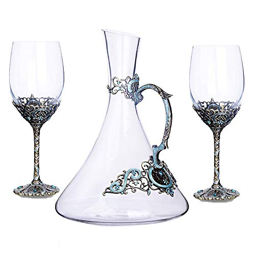 MRMRMNR 2 PCS Bicchieri Vino Rosso, Nobile Romantica Red Wine Glasses, Alta qualità Red Wine Bicchieri, Cristallo Bicchiere Processo di Colorazione dello Smalto Galvanico, con Decanter