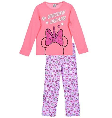 Minnie Mouse Schlafanzug Mädchen Pyjama Lang (Rosa-Gemustert, 92-98)
