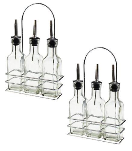 Argon Tableware Trois Bouteilles avec Support - Huile d'olive/vinaigre - 170 ML par Bouteille - Lot de 2