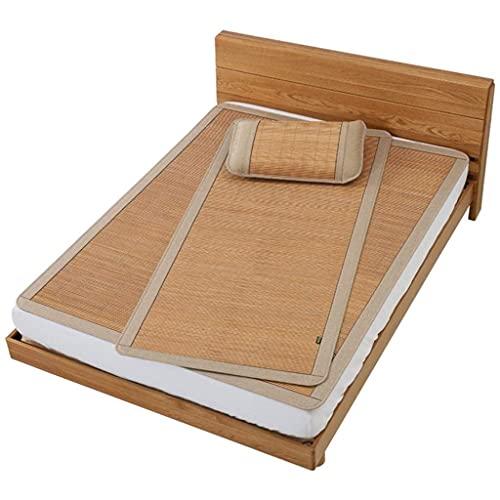 Estera de bambú Matada de Verano para Dormir Bambú Solo Cama Doble litera habitación Dormitorio Dormitorio Suave sin Rebabas con Funda de Almohada (Color : Three Piece, Size : 1.35m (4.5 ft) Bed)