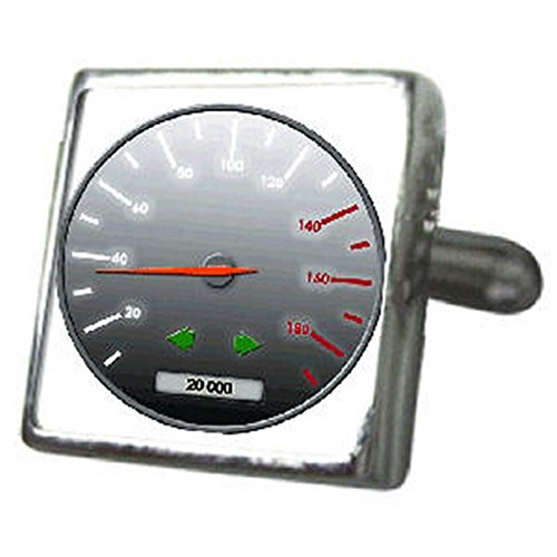 Select Gifts Cuff Links Alquiler de velocímetro gemelos~3D animadas velocidad coche cuadro...
