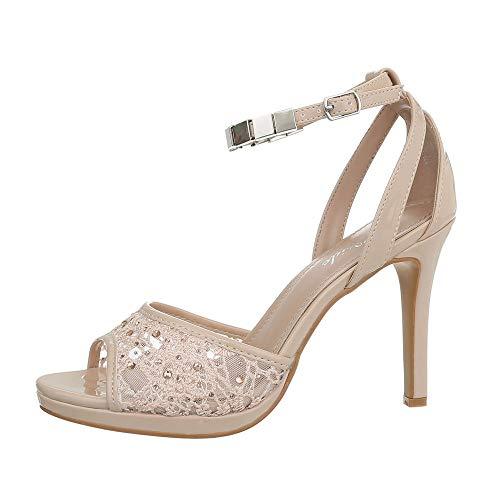 Ital-Design Damenschuhe Sandalen & Sandaletten High Heel Sandaletten Synthetik Beige Gr. 38