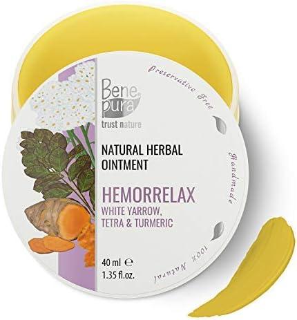 BenePura Hemorrelax - Ungüento de hierbas naturales - Milenrama Blanca, Tetra & Cúrcuma - Actúa Favorablemente sobre la Piel del Ano - Sin Concervantes, Hecho a mano en la UE - 40 ml