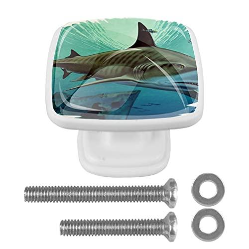 (4 piezas) pomos de cajón para cajones, tiradores de cristal para gabinete con tornillos para armario, hogar, oficina, armario, tiburón y acorazado hundido, 35 mm