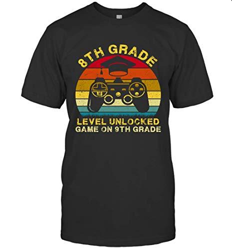 8th Grade Level Unlocked Game On 9th Grade Shirt 79 T-Shirt (Black;S)