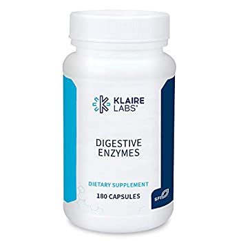 Klaire Labs Digestive Enzymes - Powerful Microbial-Based Amylase Protease Lactase Lipase & Cellulase Enzyme Blend for Gas & Bloating  180 Capsules