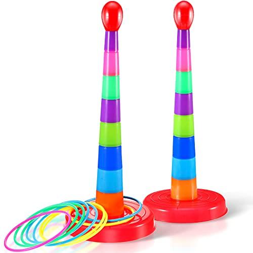 Sumind 2 Sets Juego de Lanzamiento de Anillos Deportivos de Plástico Colorido de Niños de 18 Pulgadas Juguete Portátil de Juego de Toss de Anillo de Viaje para Mayoría de Edades