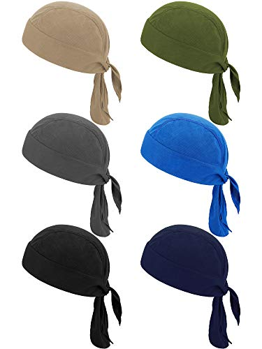 6 Pieces Sweat Wicking Beanie Cap Helmet Liner Skull Cap Breathable Cycling Head Wrap for Women Men Outdoor Activities (Classic Colors)