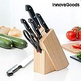InnovaGoods IG813710 Juego de Cuchillos con Portacuchillos de Madera (6 Piezas), Negro