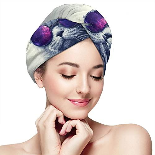 Toalla de secado de pelo para mujer, turbante con botón, gatito divertido con gafas, microfibra absorbente suave para el cabello largo y rizado