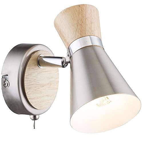 Wandstrahler 1 Flammig Innen Wandlampe mit Schalter Flurlampe Wandleuchte Leselampe (Wandspot Beweglich, Wohnzimmerlampe, Schlafzimmerlampe, Holz, Nickel Matt)