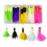 Marabou Jigs Fishing Lure Kit - 15PCS/25PCS Feather Hair Jig Hooks with Marabou Chenille for Panfish Bass Walleye Trout Ice Fly Fishing 1/8 1/16 1/32oz Random Color