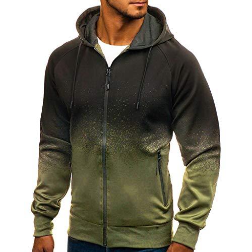 Sweat Zippé Homme,FNKDOR Hommes Sweat à Capuche Emballages Diplômé Svelte Manche Longue Sweatshirt Pullover Streetwear(Armée Verte,L)