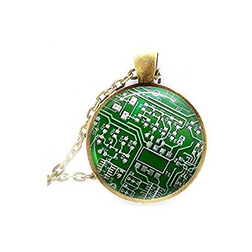 Elf House Geek - Collar con Colgante de Placa de Circuito Verde para Ordenador