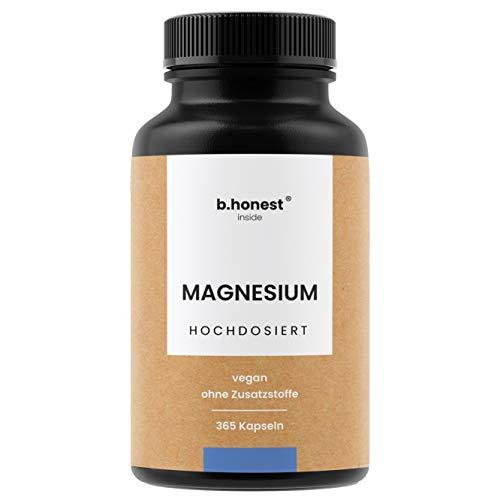 Magnesium Kapseln - Hochdosiert - 365 Kapseln (12 Monate) - 400mg elementares Magnesium pro Kapsel - Vegan, laborgeprüft